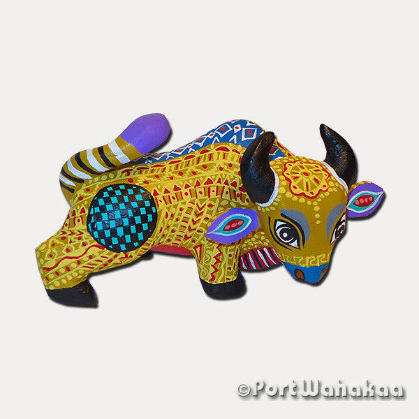 Golden Rod Ox Oaxacan Carving Artist - Margarito Rodriguez Port Wahakaa Arrazola, Bull, Carving Small, Rodriguez, Toro