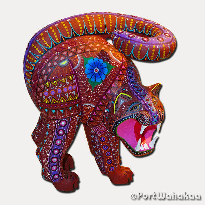 Pulsating Panthera Artist - Roberta Angeles Port Wahakaa Oaxacan Carving Mexico Folk Art