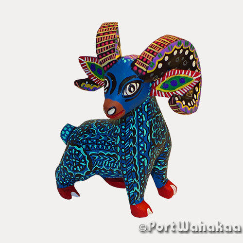 Indicolite Blue Ram - Oaxaca Wood Carving Alebrijes Animal Mexican Copal