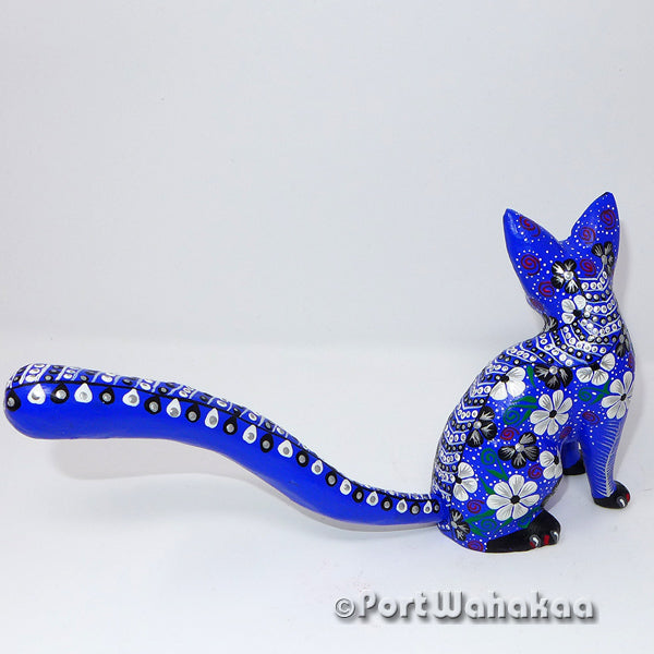 Posh Sapphire Ring Tailed Cat Oaxacan Carving Artist - Tribus Mixes Port Wahakaa Carving Medium, Cat, Gato, Panthera