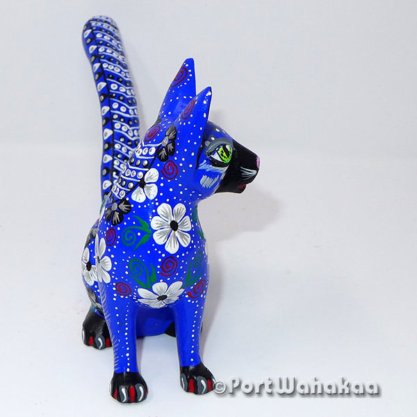 Sapphire Silver Cat Oaxacan Carving Artist - Tribus Mixes Port Wahakaa Carving Medium, Cat, Gato, Oaxaca City, Panthera