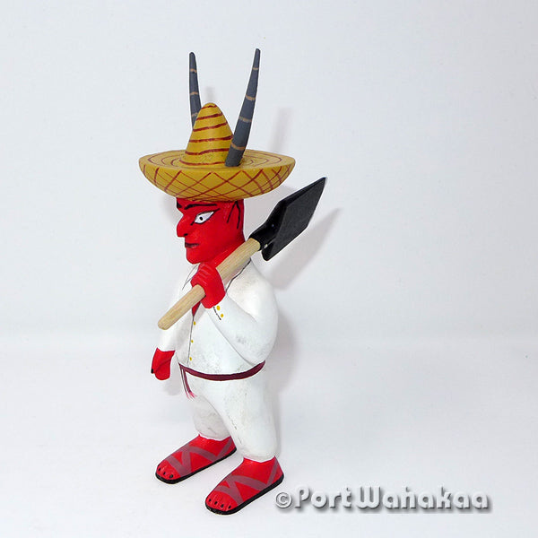 Villager Diablo with Shovel Oaxacan Carving Artist - Avelino Perez Port Wahakaa Carving Small, Devils, Diablo