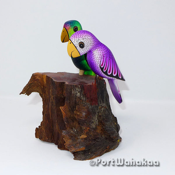 Emerald Amethyst Love Birds Oaxacan Carving Artist - Ezequiel Blas Port Wahakaa Aves, avias, Bird, Carving Medium, Pajaro, Parrots, San Pedro Cajonos