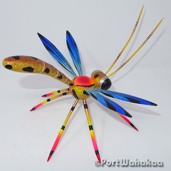 Golden Dragonfly Oaxacan Carving Artist - Blas Family Port Wahakaa Carving Medium, Dragonfly, Insect, San Pedro Cajonos