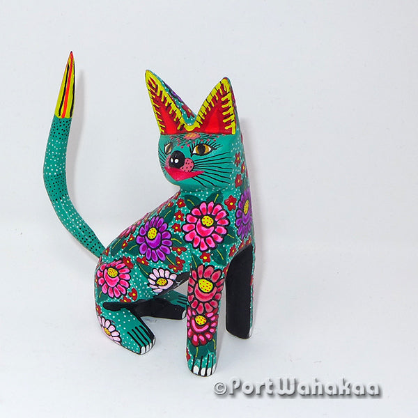 Jade Green Flower Cat Oaxacan Carving Artist - Maria Jimenez Ojeda Port Wahakaa Carving Small, Cat, Gato, San Martin Tilcajete