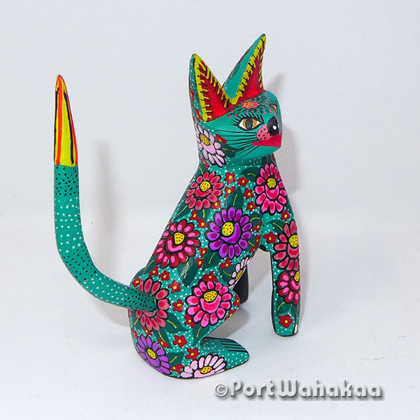 Jade Purple Flower Cat Oaxacan Carving Artist - Maria Jimenez Ojeda Port Wahakaa Cat, Gato