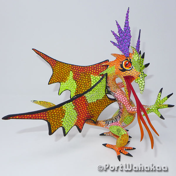 Flame Fascination Dragon Oaxacan Carving Artist - Tribus Mixes Port Wahakaa Carving Large, Dragon, Lizard, Oaxaca City, Reptile