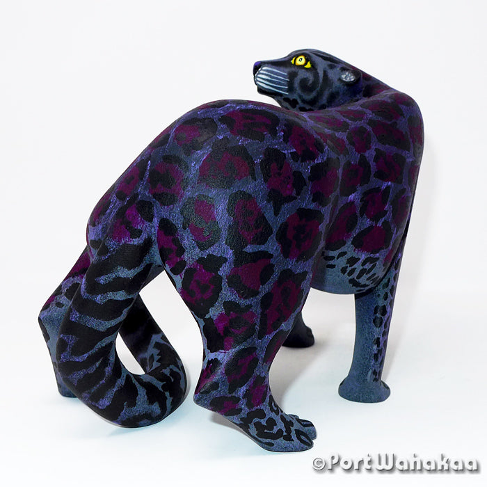 Black Jaguar Oaxacan Carving Artist - Eleazar Morales Port Wahakaa Arrazola, Carving Large, Jaguar, Panther, Panthera
