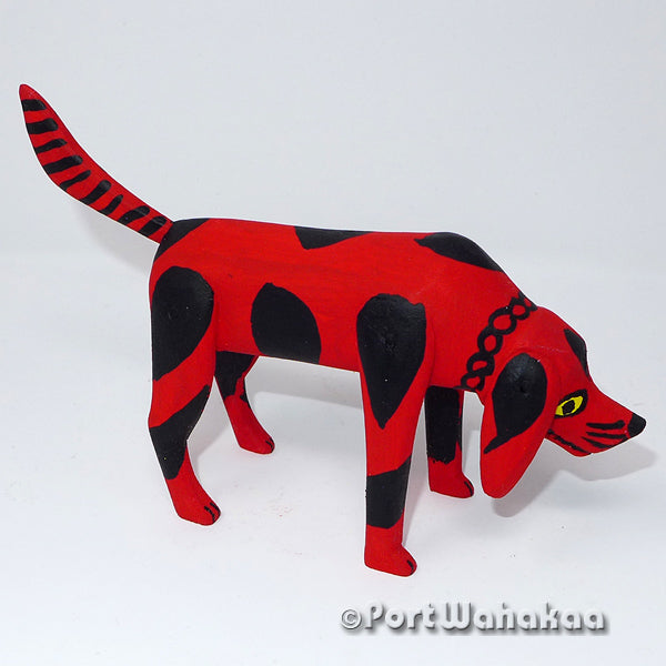 Clifford Red Rustic Dog Oaxacan Carving Artist - Calixto Santiago Port Wahakaa Dog, La Union, Lobo, Perro