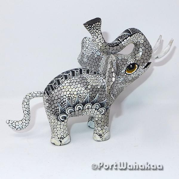 Platinum Silver Pachyderm - Oaxaca Wood Carving Alebrijes Animal Mexican Copal