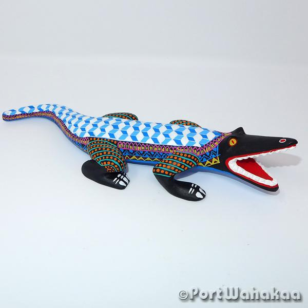 Hyperbolic Crocodile - Oaxaca Wood Carving Alebrijes Animal Mexican Copal