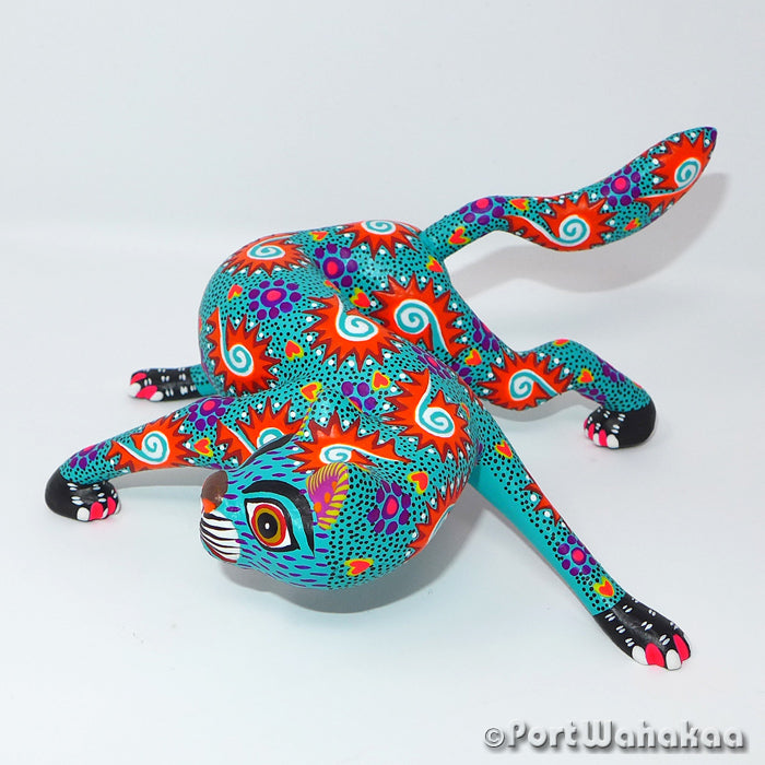 Perspicacious Gato Oaxacan Carving Artist - Yesenia Castro Port Wahakaa Arrazola, Carving Medium, Cat, Gato