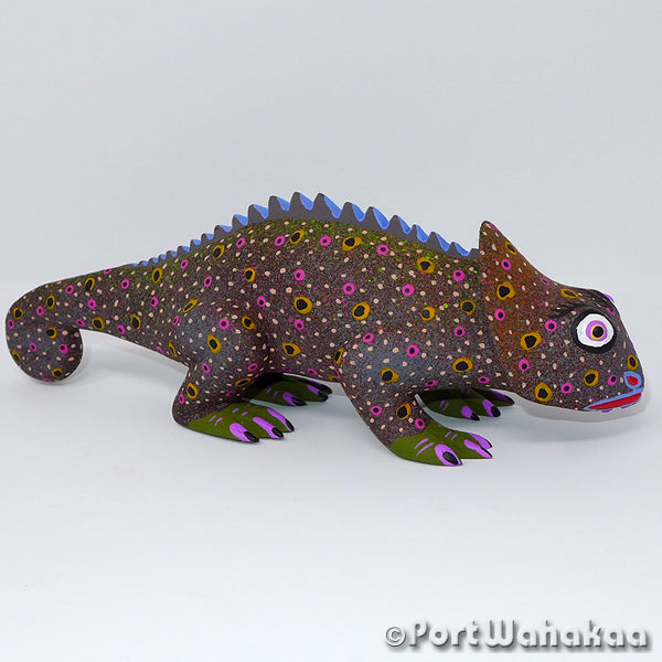 Coffee Chameleon Oaxacan Carving Artist - Edilberto Cortez Port Wahakaa Carving Large, Chameleon, Cortez, Iguana, Lizard, Reptile