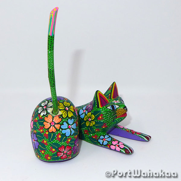 Spearmint Lounging Cat - Oaxaca Wood Carving Alebrijes Animal Mexican Copal
