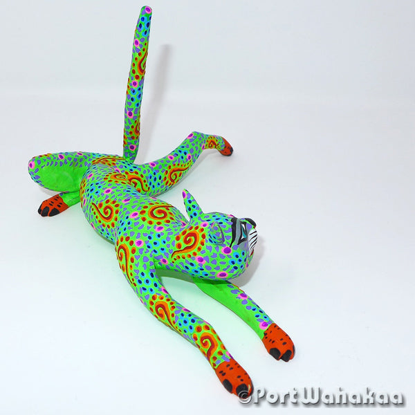Minty Lime Cat Oaxacan Carving Artist - Rocio Hernandez Port Wahakaa Arrazola, Carving Small, Cat, Gato