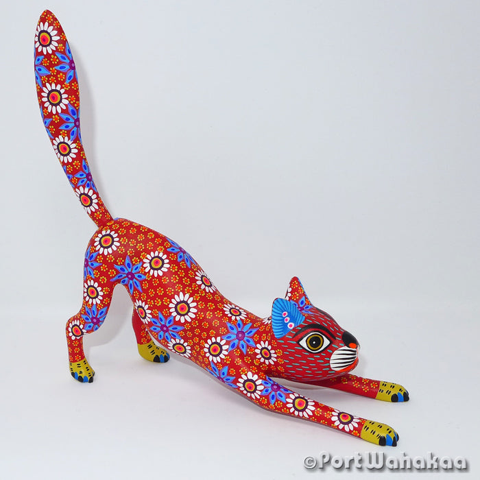 Scarlet Stealth Cat Oaxacan Carving Artist - Yesenia Castro Port Wahakaa Arrazola, Carving Medium, Cat, Gato, Panthera