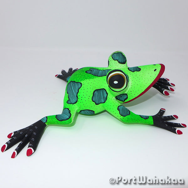 Pacific Green Tree Frog Oaxacan Carving Artist - Angel Ramirez Port Wahakaa Arrazola, Carving Medium, Frog, Rana, Sapo