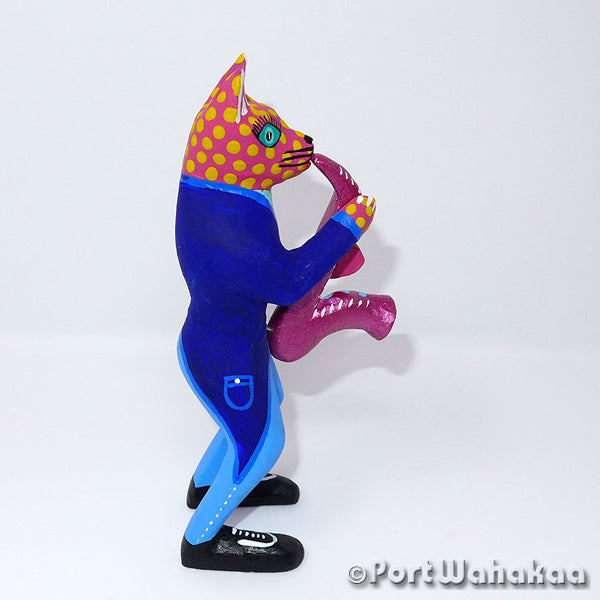 Cat Peach Saxophone Artist - Juventino Melchor Port Wahakaa Oaxacan Carving Mexico Folk Art