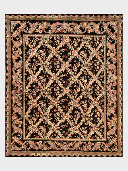 Consuela Pakistani Hand Knotted Rugs Ebony and Dark Cherry - Size 8'x10' - Oriental Rugs, fine, Houston, From Indian, Pakistan, Turkey, Persia