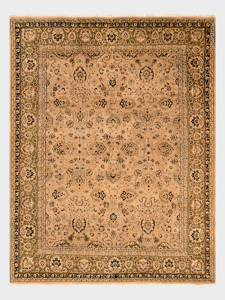 Breann Indian Hand Knotted Rug Ivory With Peach Wash And Mahogany   Size 7u0027  11