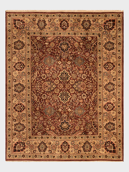 Farah Indian Hand Knotted Rugs Dark Cherry, Mahogany and Indigo - Size 8'x10' - Oriental Rugs, fine, Houston, From Indian, Pakistan, Turkey, Persia