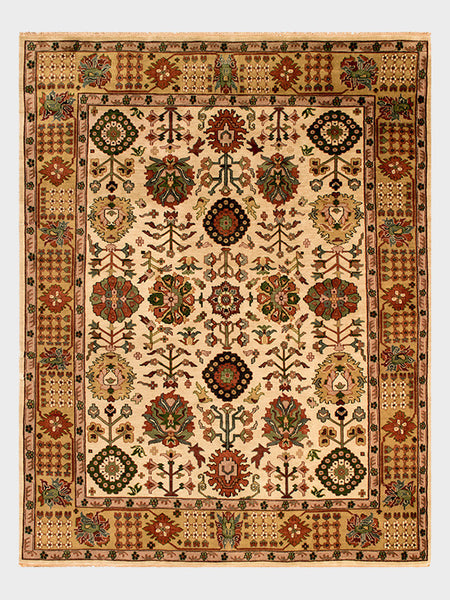 Oriental rug made in India with toasted almond color