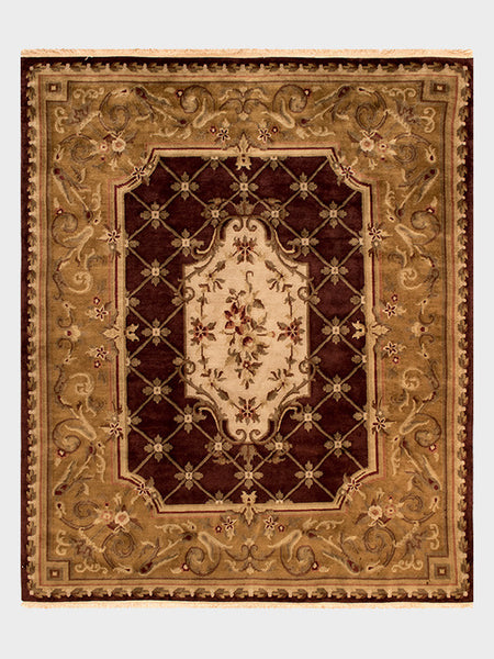 Crysta Indian Hand Knotted Rugs Dark Cherry, Mahogany and Amber - Size 8'x10' - Oriental Rugs, fine, Houston, From Indian, Pakistan, Turkey, Persia