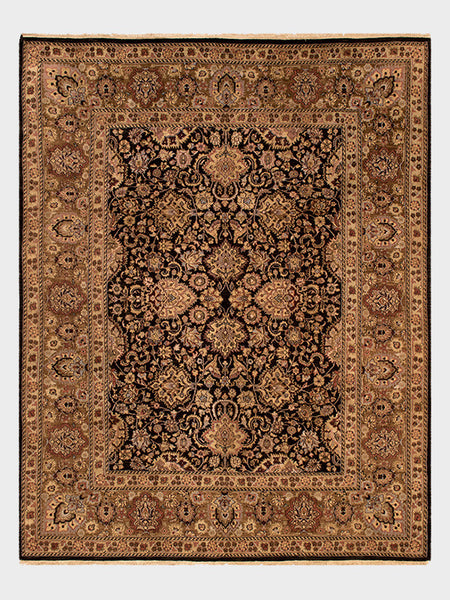 "Augusta Hand Knotted oriental Rug from India in Moon Black, Dark Cherry and Mahogany - Size  8' x 10' 1"" - Oriental Rugs, fine, Houston, From Indian, Pakistan, Turkey, Persia"