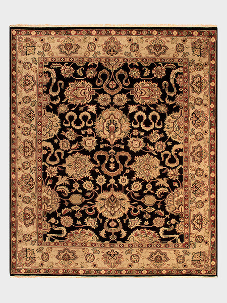 Demetrice Indian Hand Knotted Rugs Ebony and Black Cherry - Size 8'x10' - Oriental Rugs, fine, Houston, From Indian, Pakistan, Turkey, Persia