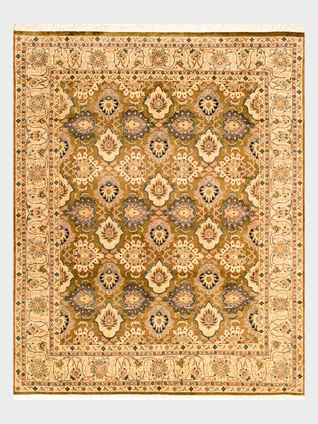 Donita Pakistani Hand Knotted Rug in Vine Greens and Desert Sands - Size 8'x10' - Oriental Rugs, fine, Houston, From Indian, Pakistan, Turkey, Persia