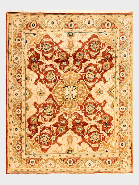 Erna Pakistani Hand Knotted Rug in Burnished Red and Desert Sand Tones - Size 8'x10' - Oriental Rugs, fine, Houston, From Indian, Pakistan, Turkey, Persia