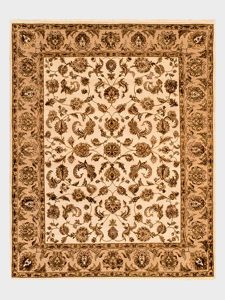 Florence Indian Hand Knotted Rugs Toasted Almond, Ivory and Mahogany - Size 8'x10' - Oriental Rugs, fine, Houston, From Indian, Pakistan, Turkey, Persia