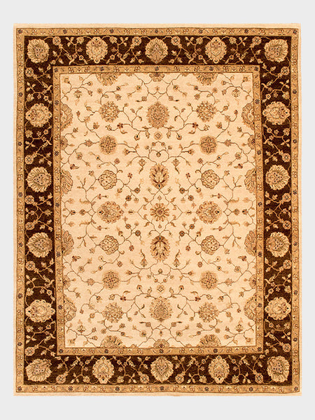 Ceola Indian Hand Knotted Rugs Almond, Toast and Biscotti with Mahogany Accent - Size 8'x10' - Oriental Rugs, fine, Houston, From Indian, Pakistan, Turkey, Persia