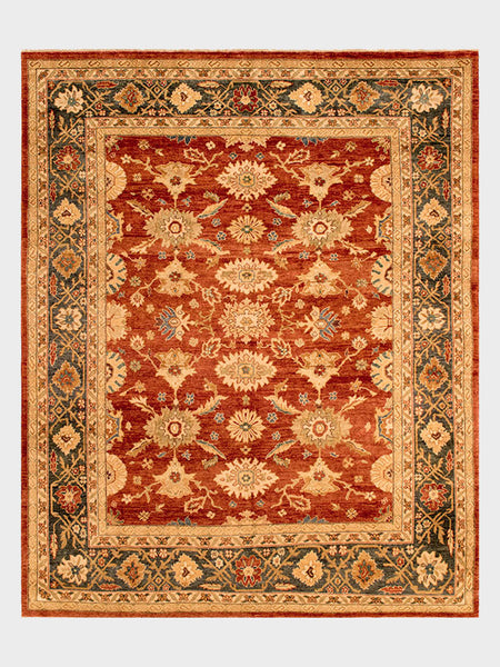 Carlie Pakistani Hand Knotted Rug Dark Cherry, Desert Grey, Taupe And Amber    Size