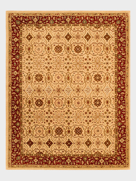 Charlene Indian Hand Tufted Rugs Toasted Almond and Dark Cherry - Size 8'x10' - Oriental Rugs, fine, Houston, From Indian, Pakistan, Turkey, Persia