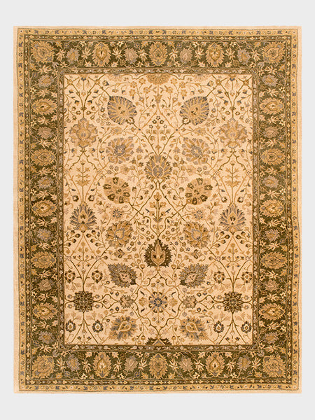 "Alaina Indian Hand Tufted  Rugs in Champagne, Cedar and Pale Gold - Size 7' 6"" x 9' 6"" - Oriental Rugs, fine, Houston, From Indian, Pakistan, Turkey, Persia"