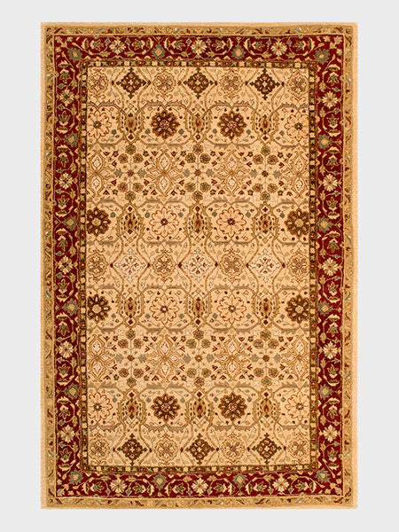 Despina Indian Hand Tufted Rugs Sand and Dark Cherry - Size 6'x9' - Oriental Rugs, fine, Houston, From Indian, Pakistan, Turkey, Persia