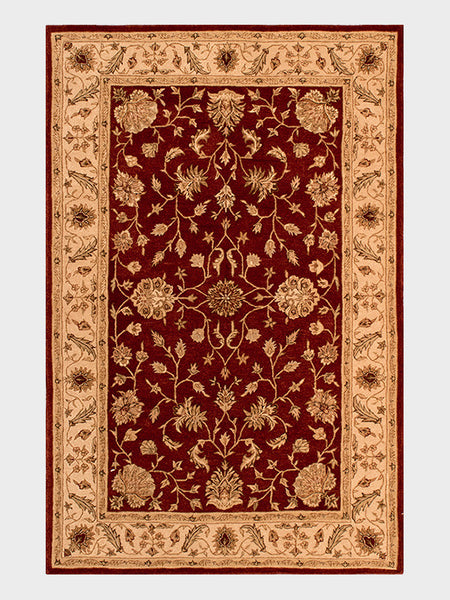 Arica Hand Tufted Rug from China in Black Cherry, Pale Gold and Mahogany  - Size 5'x8' - Oriental Rugs, fine, Houston, From Indian, Pakistan, Turkey, Persia