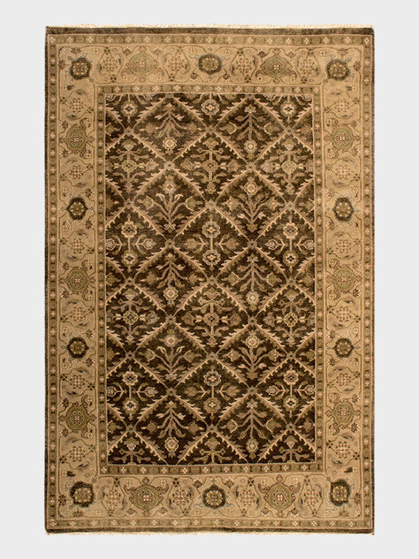 "5' 6"" x8' 6"" olive green traditional rectangle wool area rug at"