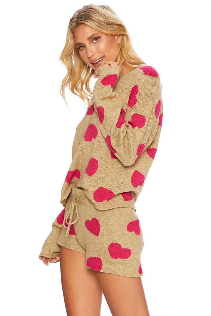 Beach Sweater Taupe Heart