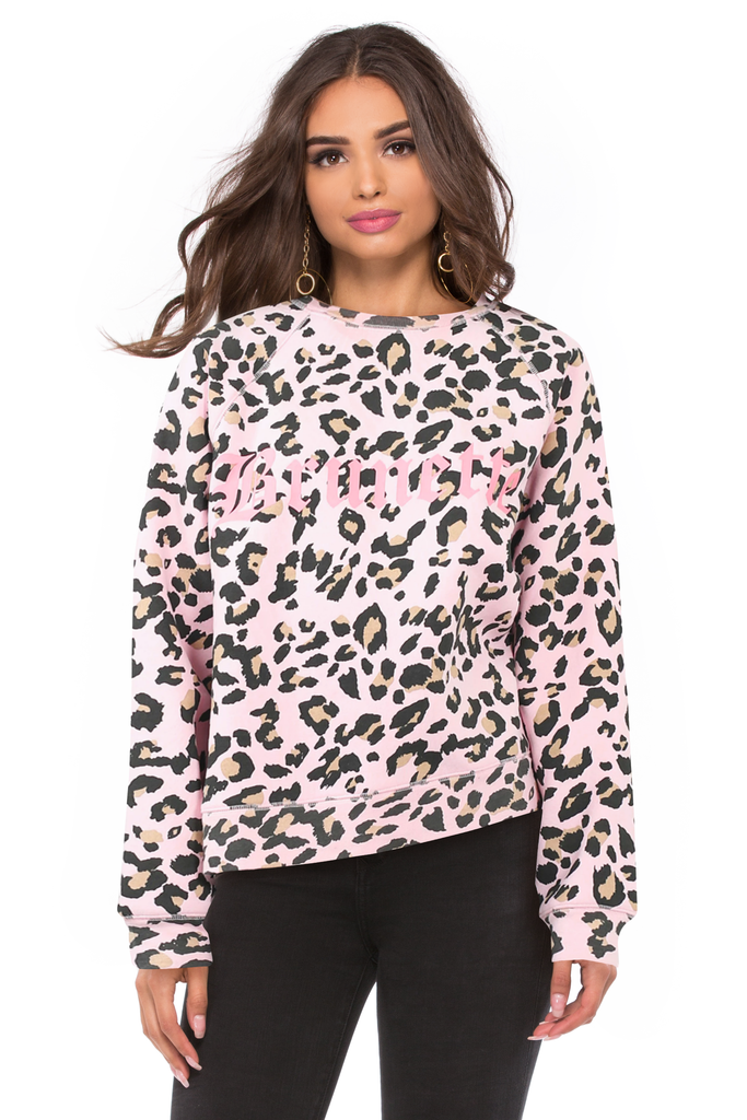 Brunette Pink Leopard Middle Sister Crew - Juicy Couture