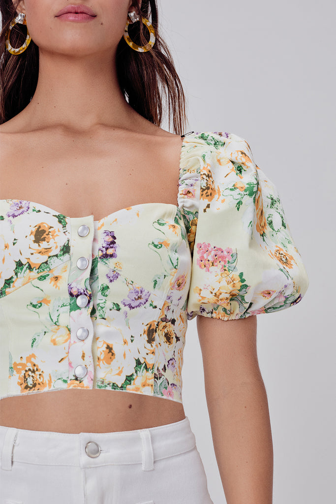 Chamomile Denim Crop Top