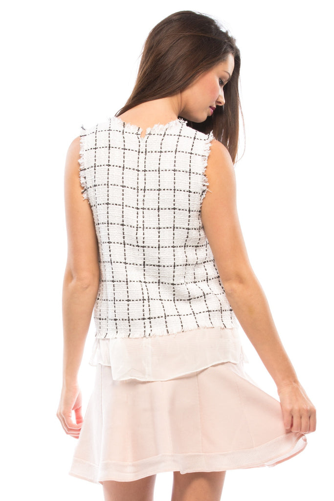 Frayed Edge Grid Top