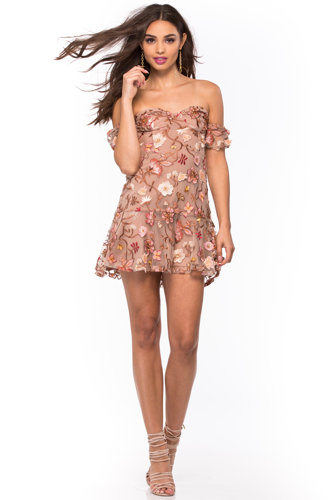 Botanic Strapless Dress - Sugarillashop.com