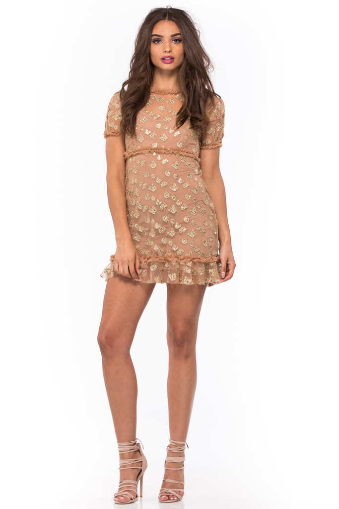 Golden Garden Tulle Mini Dress