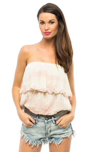 Cha Cha Tube Top In Light Peach