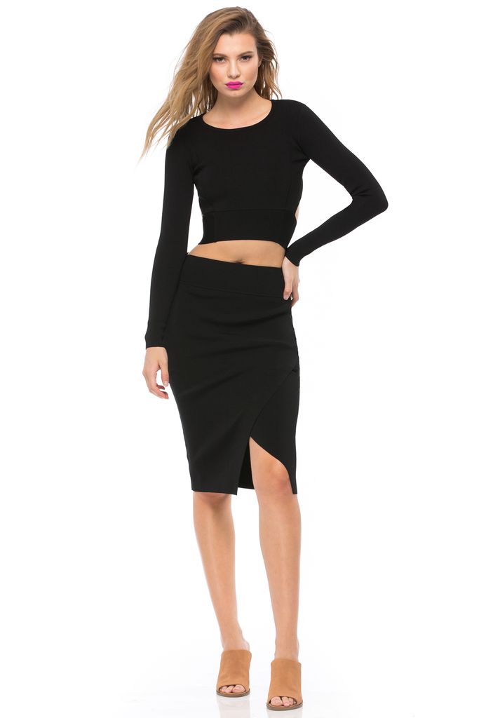 Compact Overlap Pencil Skirt