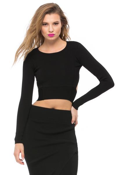 Compact Long Sleeve Crop Top - Sugarillashop.com