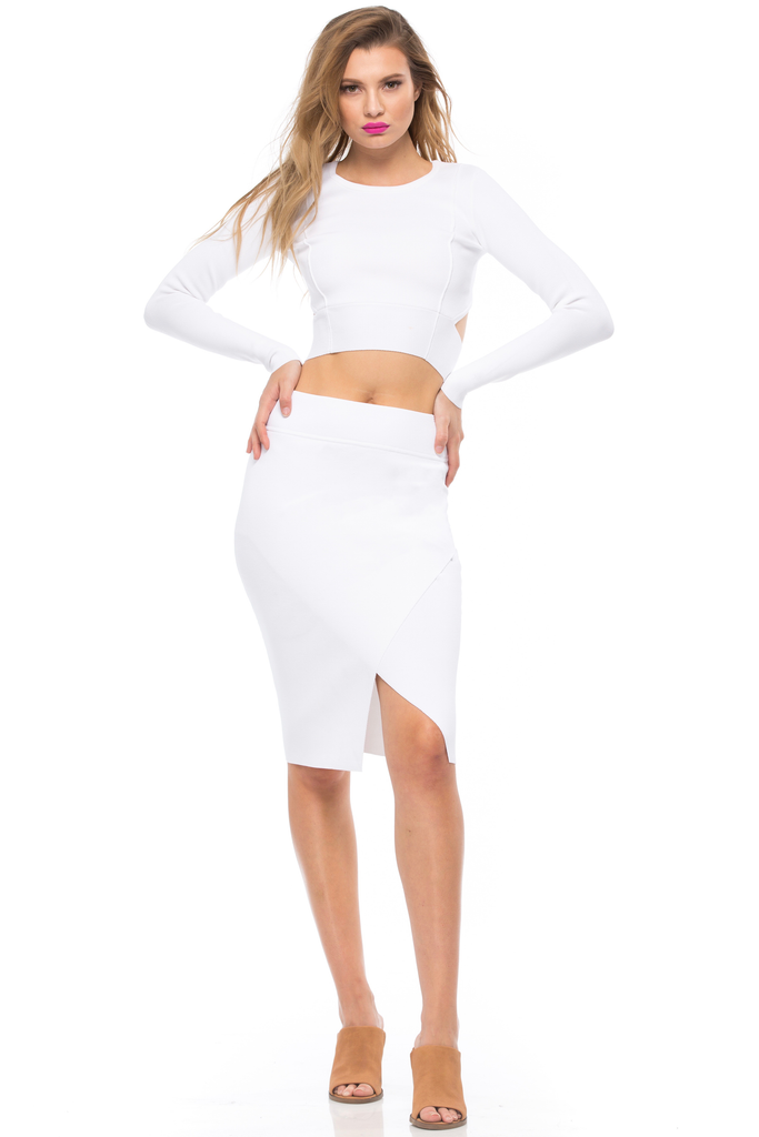 Compact Overlap Pencil Skirt - Sugarillashop.com