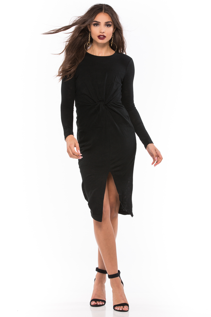 Knotted Long Sleeve Dress